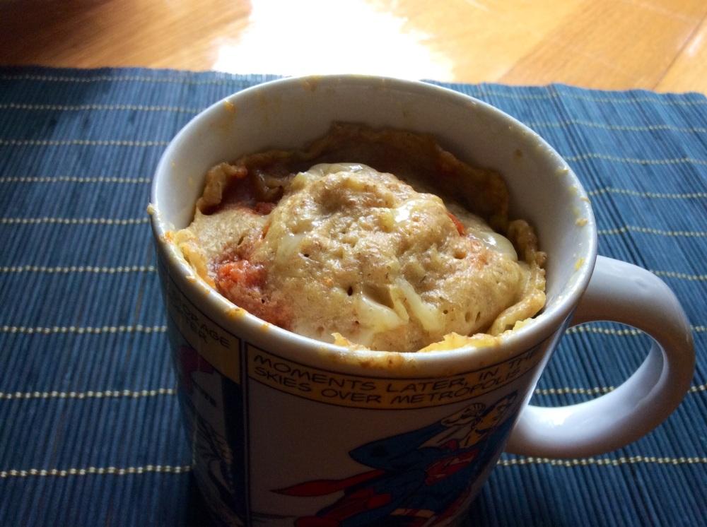 Mug cake de queso de Mahón y sobrasada. Bizpireta